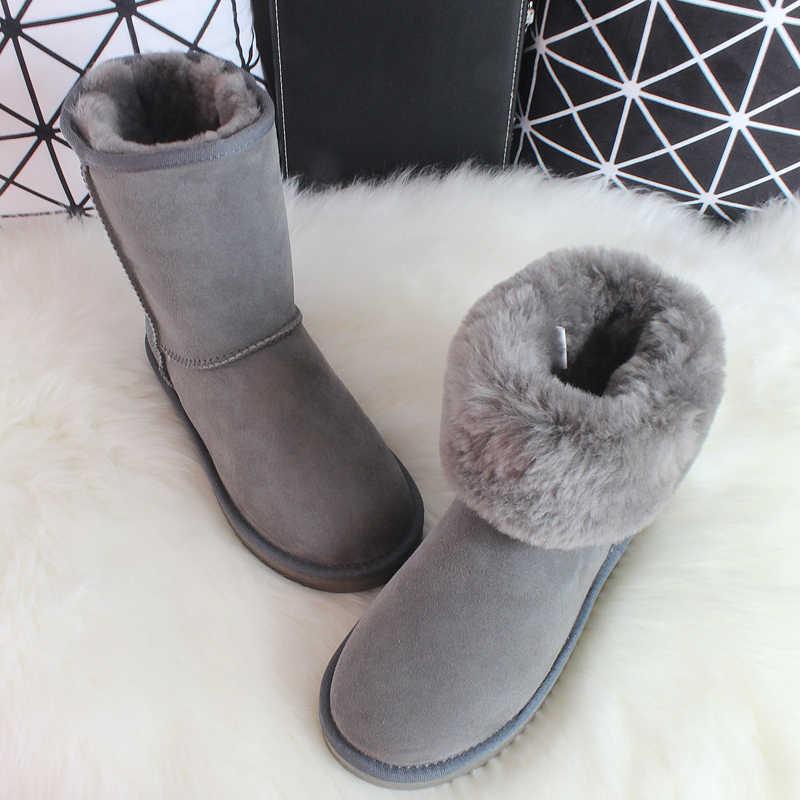 Wimen/брендовая зимняя Классическая обувь из овечьей кожи зимние сапоги