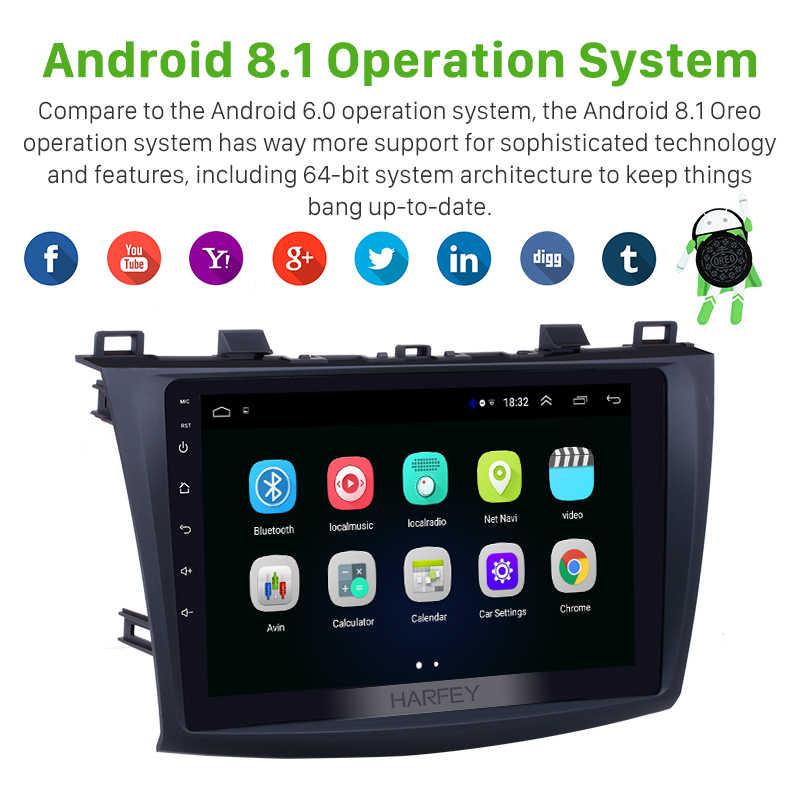 Harfey 9 дюймов Автомобильный мультимедийный плеер Android 8,1 Автомагнитола для 2009-2012 MAZDA 3 с gps Bluetooth навигация wifi USB стерео плеер