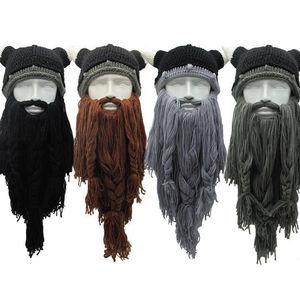 Funny Crazy Halloween Cosplay Men Knit Viking Beard Horn Hat Ski Mask Cap Barbarian Vagabond Cool Beanie Winter Warm Unisex Hat(China)