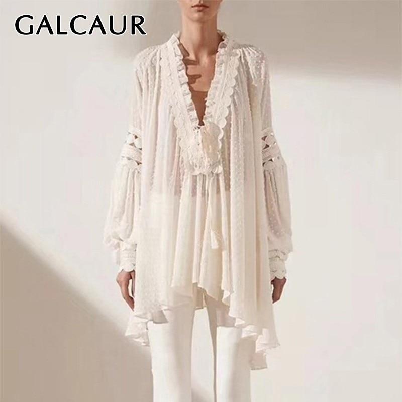 GALCAUR Elegant Solid Bandage Blouse For Women V Neck Lantern Sleeve Hollow Out Patchwork Loose Shirt