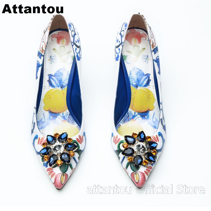 Fashion flower painted thin high heel pump Women blue rhinestone decor heeled party dress shoe pointed toe slip-on stilettosFashion flower painted thin high heel pump Women blue rhinestone decor heeled party dress shoe pointed toe slip-on stilettos