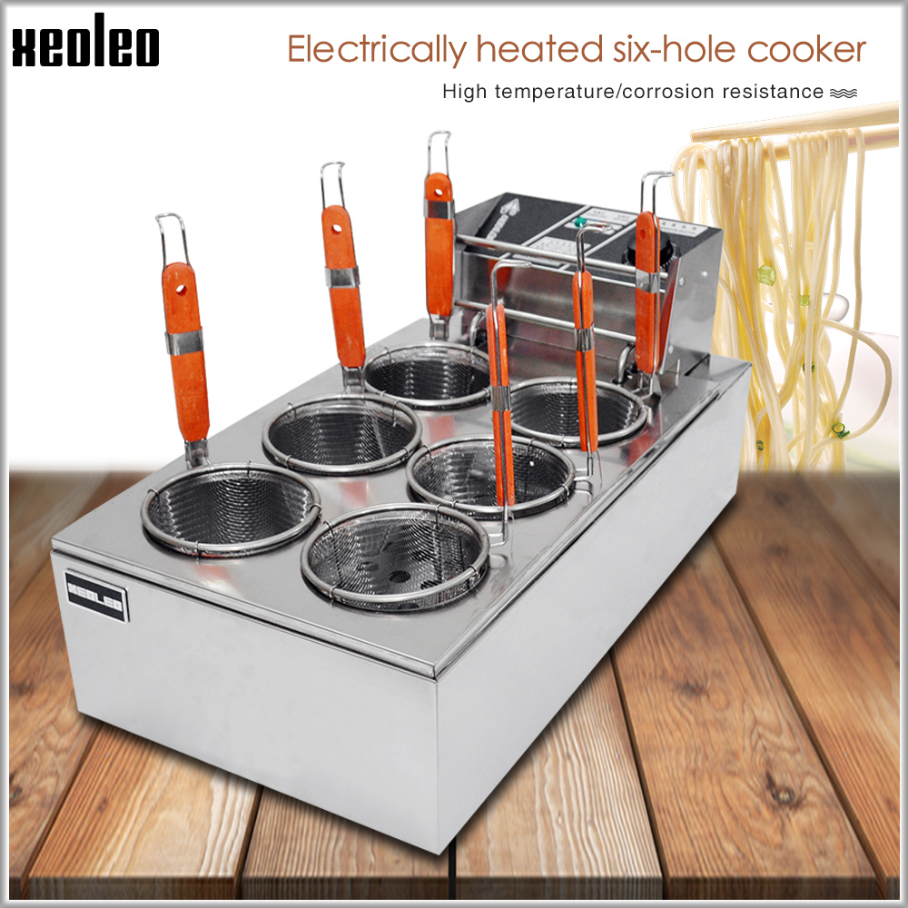 XEOLEO Pasta Boiler Cooker Electric Pasta Cooker Noodle Cooker 6 Baskets Stainless Steel Cooking Noodle Machine For Kitchen 6KW