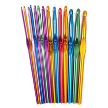 14Pcs/Set Crocheting Needle Tool Metal Aluminum Colored Crochet Sweater Knitting  WXV Sale