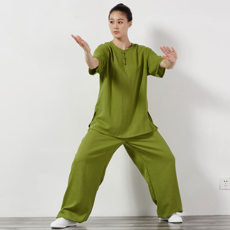 Women Short Sleeve Traditional Tai Chi Uniforms Kung Fu Clothing Martial  Art Wear Unisex Shirt And Pant Violet Green Yellow