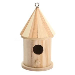 Деревянная птица дом скворечник подвесное гнездо коробка для птиц с крючком Home садовый декор древесины Цвет Размер: 16 см * 7,8 см