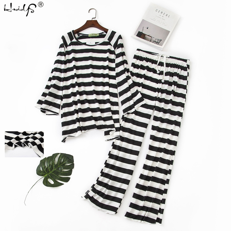 Plus Size Sleepwear Women Pajama Sets Women Casual Soft Modal Striped Print Long Sleeve O-Neck Shirt And Pants Pajama Set