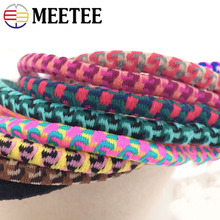 Meetee 5/10meters 5mm Leopard Elastic Rubber Band DIY Headwear Round Tendon Rope Hand Knotted Hair Ring Material EB009