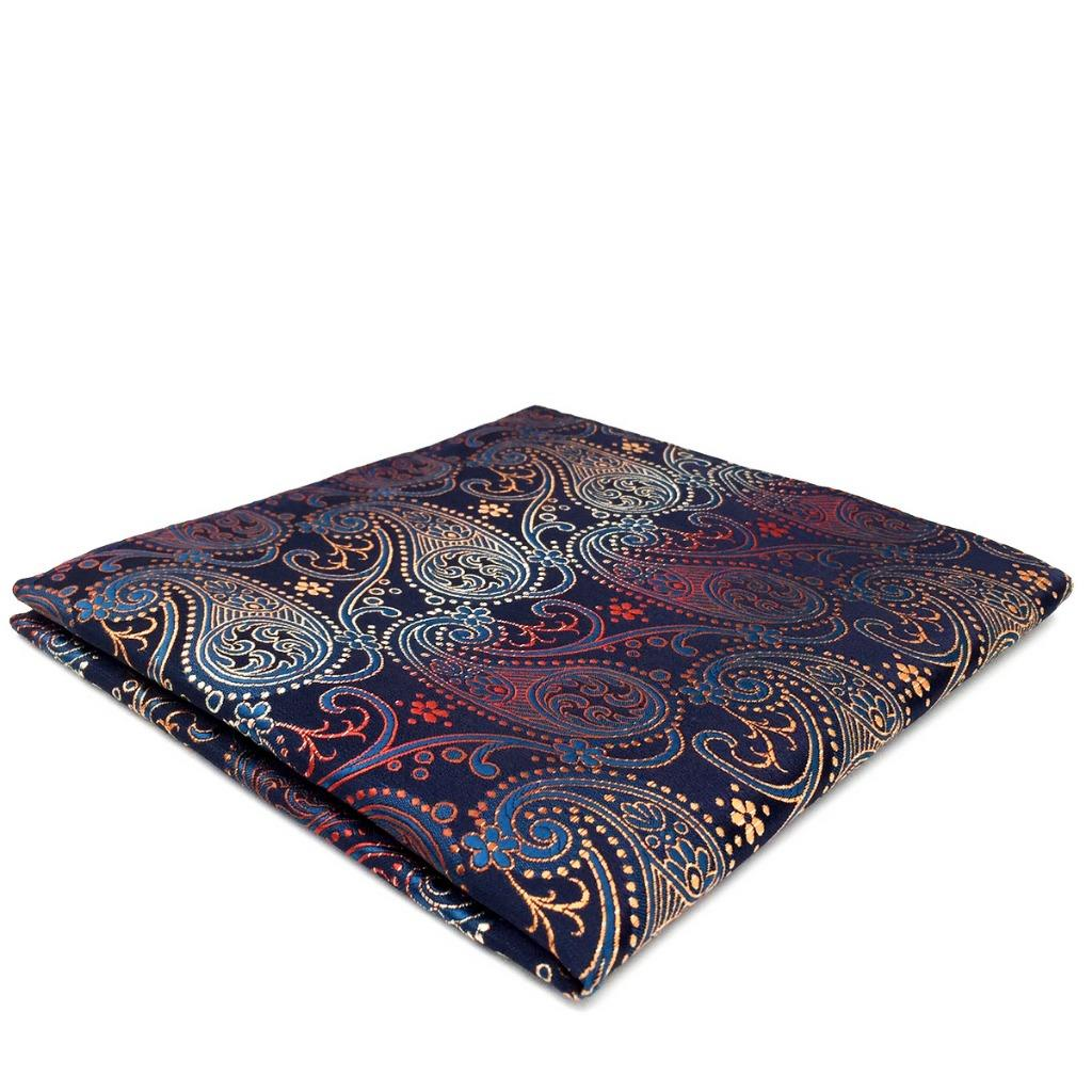 BH26 Brand New Mens Pocket Square Navy Multicolor Paisley Silk Dress Wedding Fashion Hanky 12.6