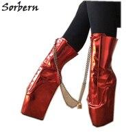 Sorbern металлический красный ботильоны для женщин балетные костюмы клинья короткие сапоги с цепочками замки БДСМ обувь женщин Botines Mujer 2019