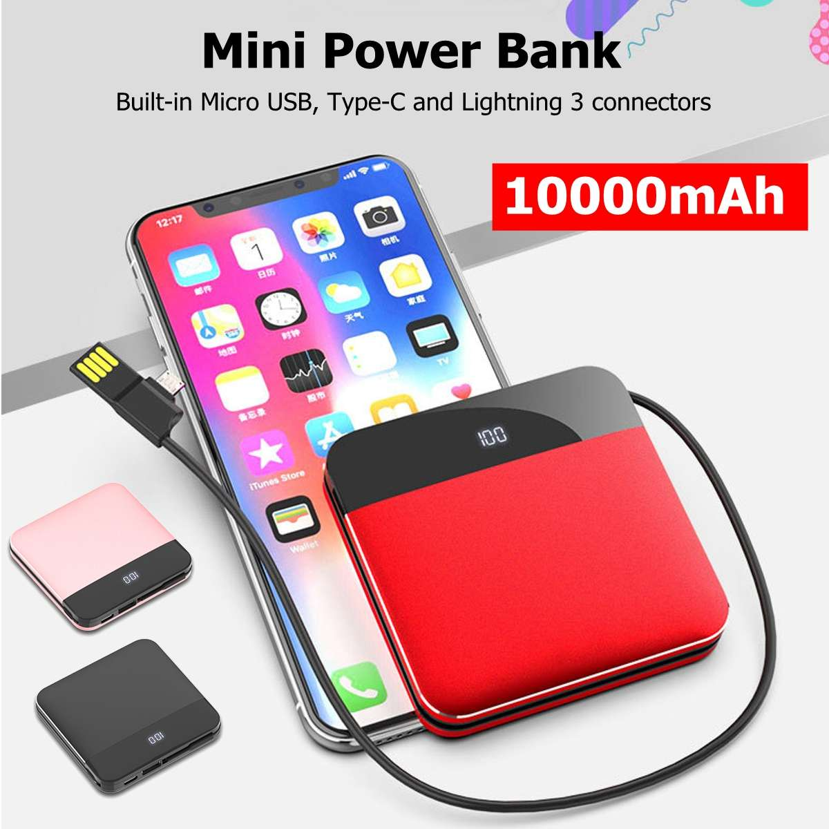 10000mAh Phone Mobile Charger 5V 2.1A Quick Charing 3.0 For