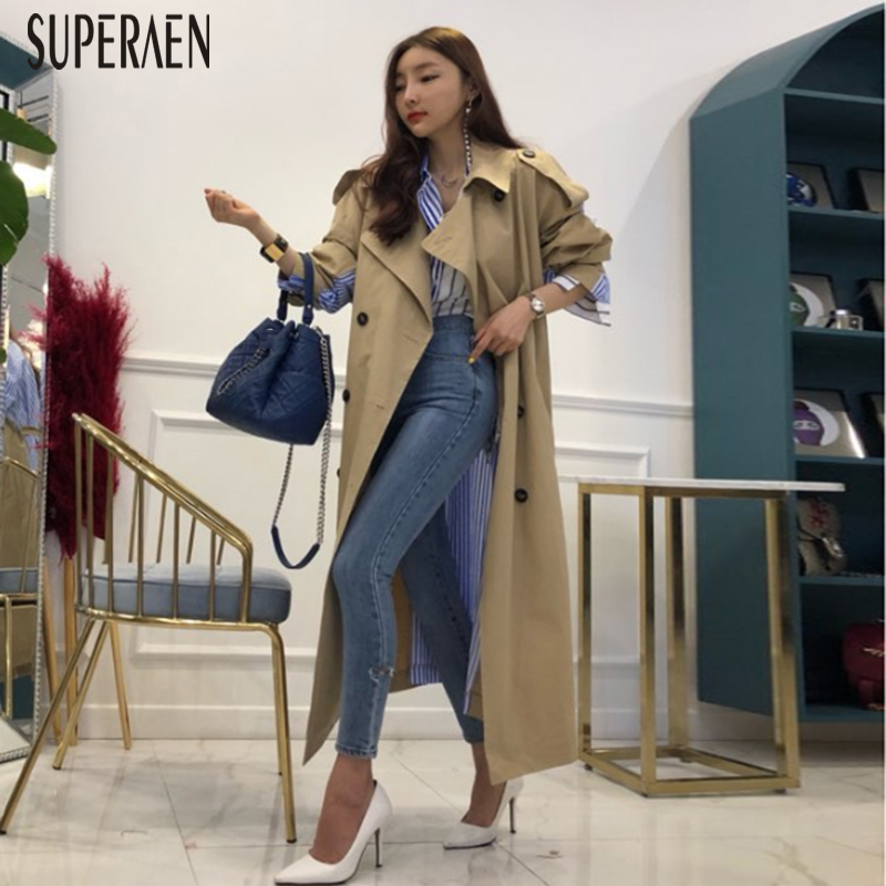 SuperAen 2018 Autumn New Lapels   Trench   Coat for Women Wild Cotton Casual Striped Stitching Long Coat Loose Windbreaker Female