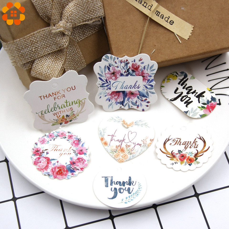 50PCS Multi Type Kraft Paper Tags DIY Craft Label With Rope For Wedding Valentine's Day Note Hang Tag Gift Box Wrapping Supplies