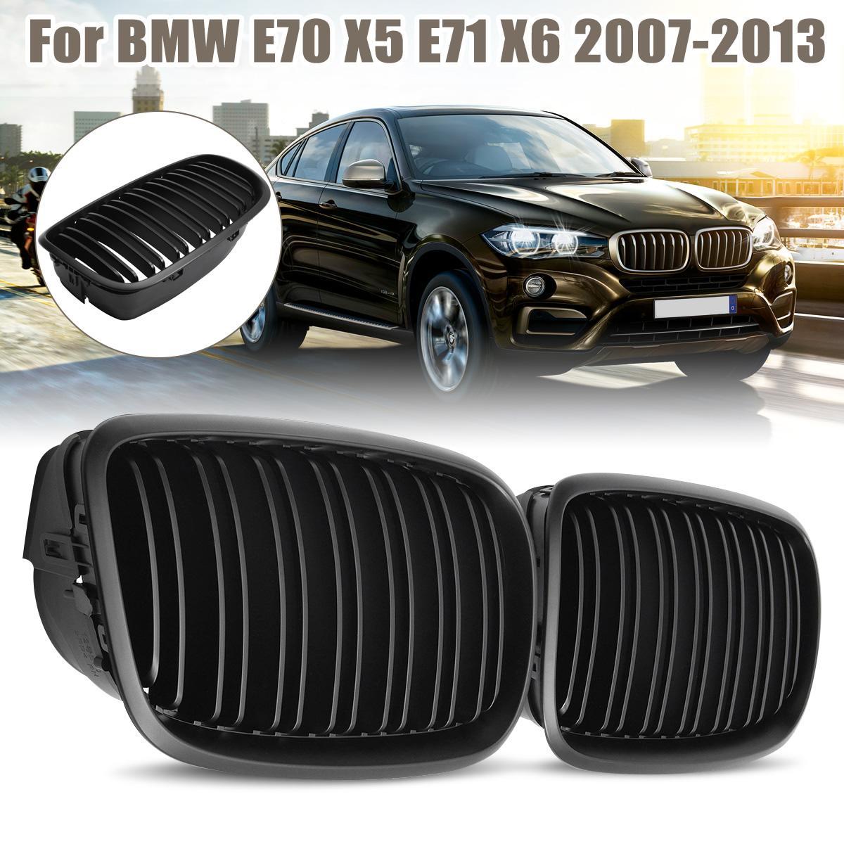 Noir mat double ligne paire avant pare-chocs capot rein Sport grilles Grille pour BMW E70 E71 X5 X6 2007-2013