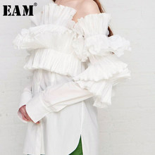 [EAM] 2019 New Autumn Winter Slash Neck Long Sleeve Three-dimensional Ruffles Loose Shirt Women Blouse Fashion Tide JS662(China)