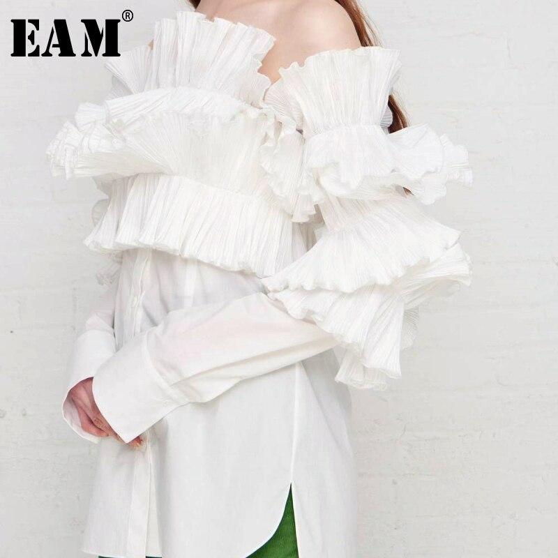 [EAM] 2019 nouveau automne hiver Slash cou à manches longues en trois dimensions volants chemise ample femmes Blouse mode marée JS662