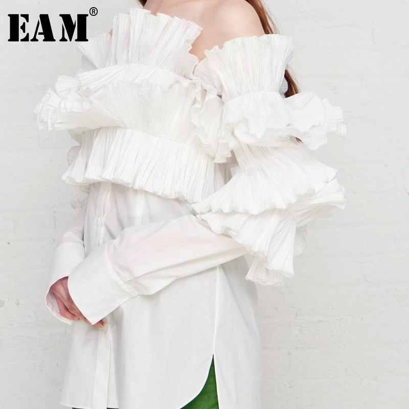 [EAM] 2020 New Spring Autumn Slash Neck Long Sleeve Three-dimensional Ruffles Loose Shirt Women Blouse Fashion Tide JS662