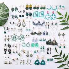 Bohemian tassel earrings forest gree leaves tassels pendant acrylic seaside fashion crystal womenparty jewelry