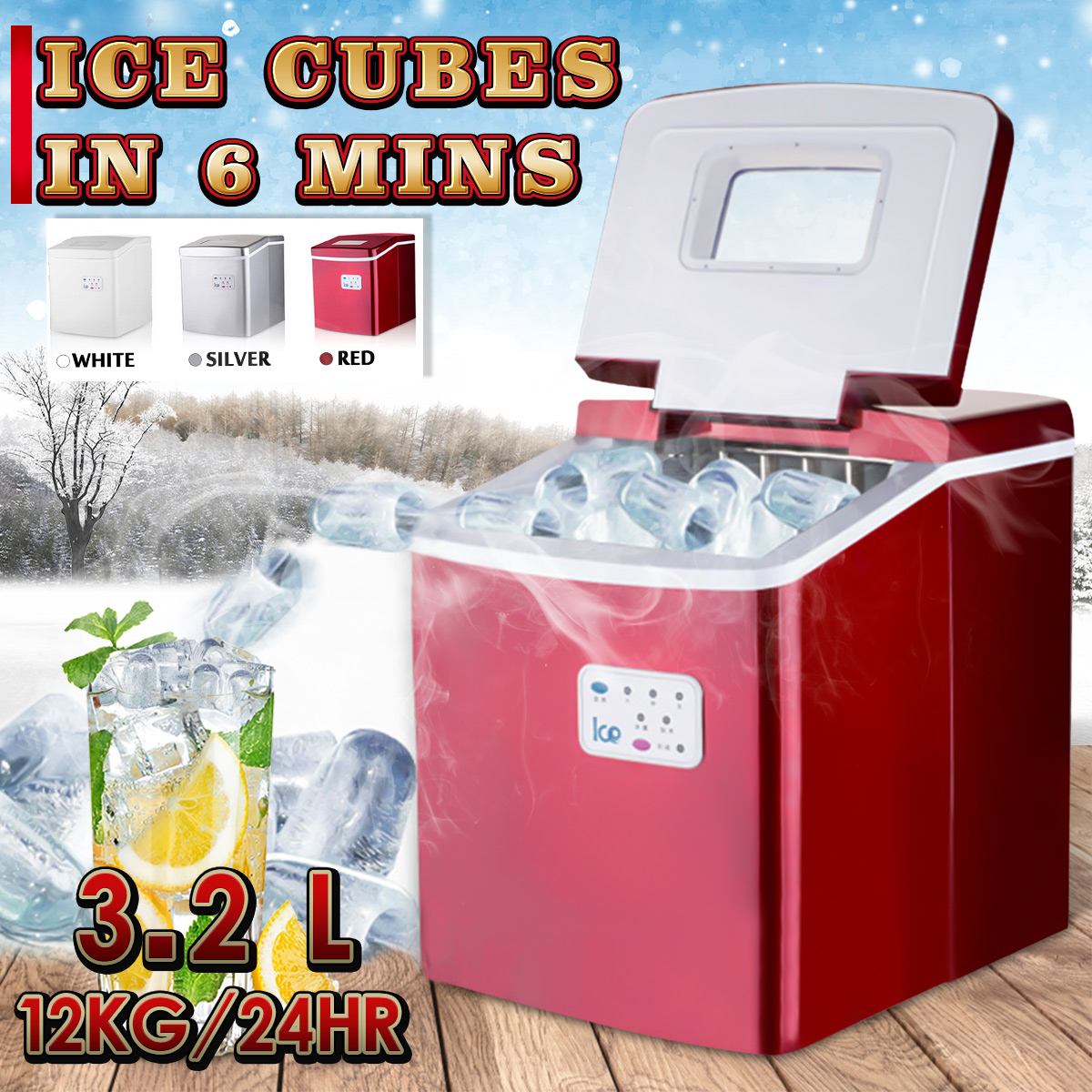 Portable 3.2L 12KG/24hr Automatic Electric Quick Ice Machine Circular Ice Cube Block Maker for Commercial Household Bar Shop 24hr j146