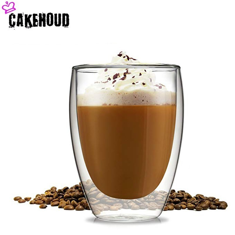 CAKEHOUD Double-layer Heat-resistant Latte Coffee Cup, Transparent Glass, Insulation Latte, Milk, Beer, Juice