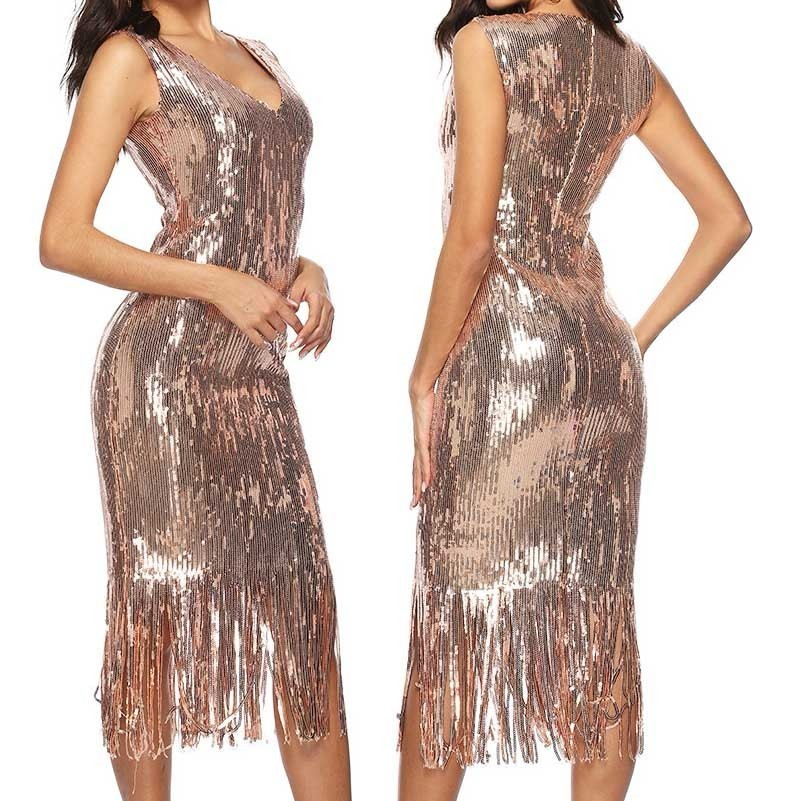 vestidos gold sequin glitter dress women winter fringe party dresses sexy  sparkly tassel clothes ukraine bodycon d9b09b15f615