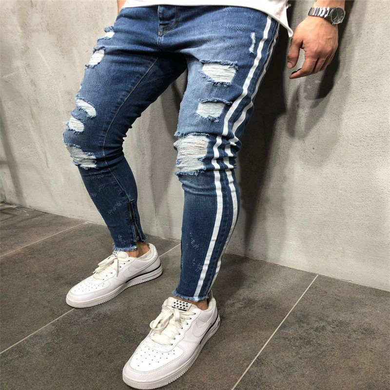 Trendy Men Skinny Jeans Biker Destroyed Frayed Fit Denim Ripped Denim Pants Side Stripe Pencil Pants Hip Hop Streetwear striped jeans for boys