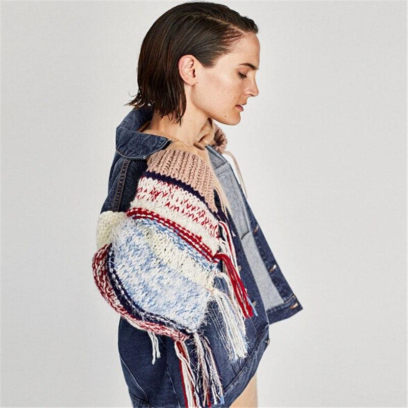 Manches Femmes Mode Vestes Gland En Chic Avec D'hiver Bonneterie Outwear Cowboy Hippie Blue De Denim Veste Contrastées Chaud 2018 w70xqYzx