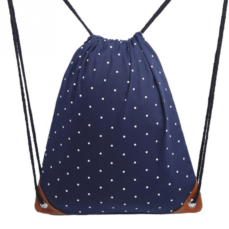 Women Lightweight Polka Dot Sack Backpack Gym Fashion Outdoor Drawstring Canvas Bag  For Shopping, Walking, Cycling