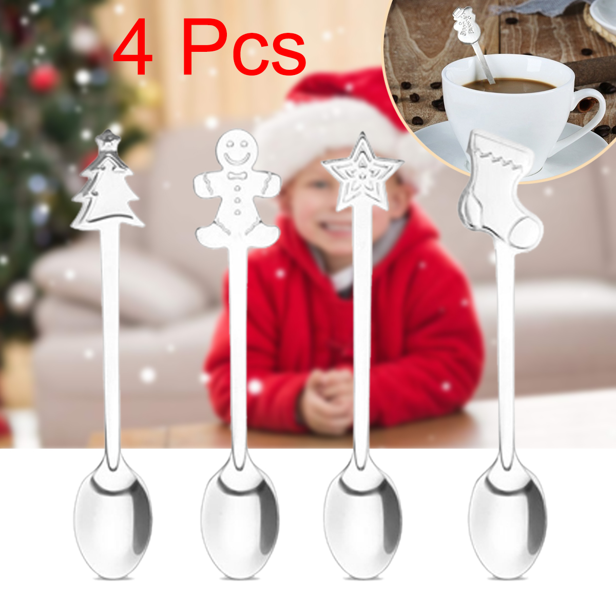 4PCS Christmas Stainless Steel Spoon Fashion Cartoon Coffee Spoon Life Home font b Kitchen b font