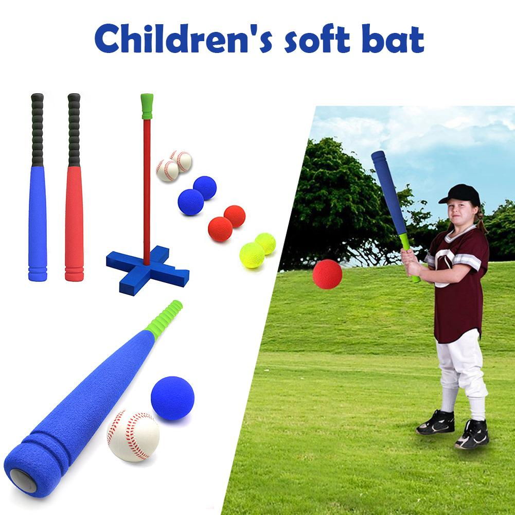 Children's Soft Bat Kids Foam T-Ball Baseball Set Toy 8 Different Colored Balls Include Organize Bag For Boys Over 1 Years Old