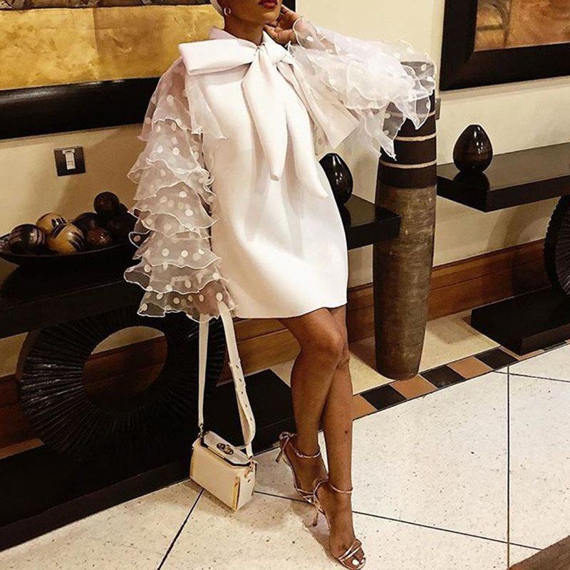 Plus Big Size Elegant Party Orange White Mini Dresses Vintage Women Bow Polka Dot Mesh Ruffle Long Sleeve Short Dress Ladies