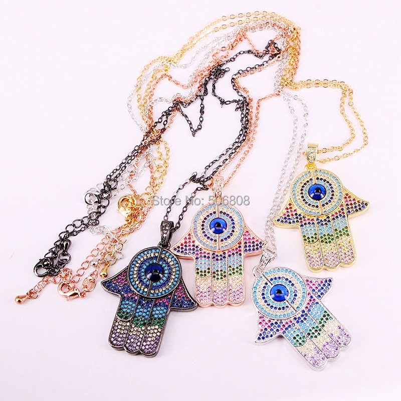 6 Strands ZYZ N5866 fashion color necklace with rainbow cz paved hamsa hand pendant colorful cz