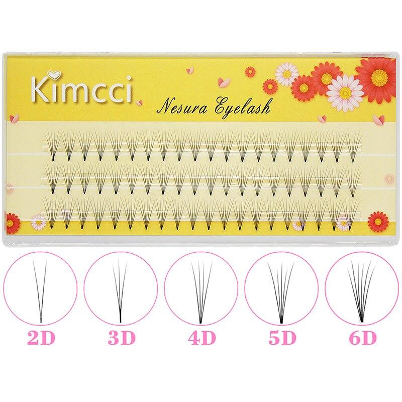 Kimcci 2D/3D/4D/5D/6D Professional Individual Cluster Eyelashes Extension Natural Soft Black Grafting False Eyelash Makeup Cilia
