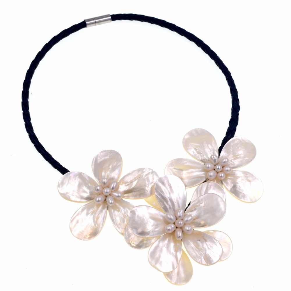 Natural white Freshwater pearls White Sea shell flower necklace for women