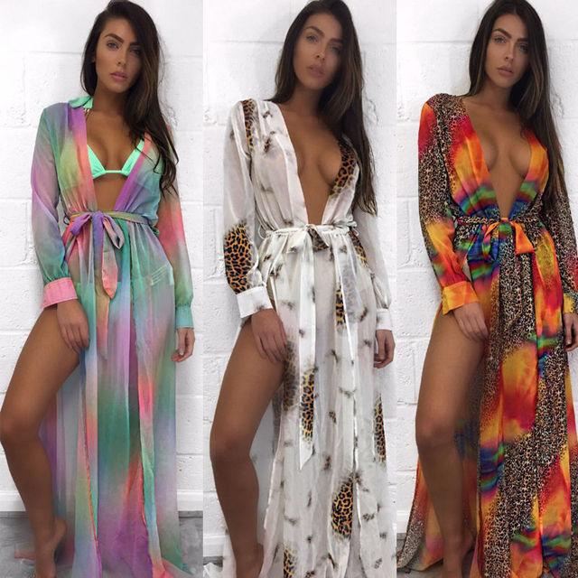 6ace707c40 2019 Hot Sale Summer Boho Floral Print Sext V-neck Women Bathing Suit  Bikini Swimwear Cover Up Beach Dress