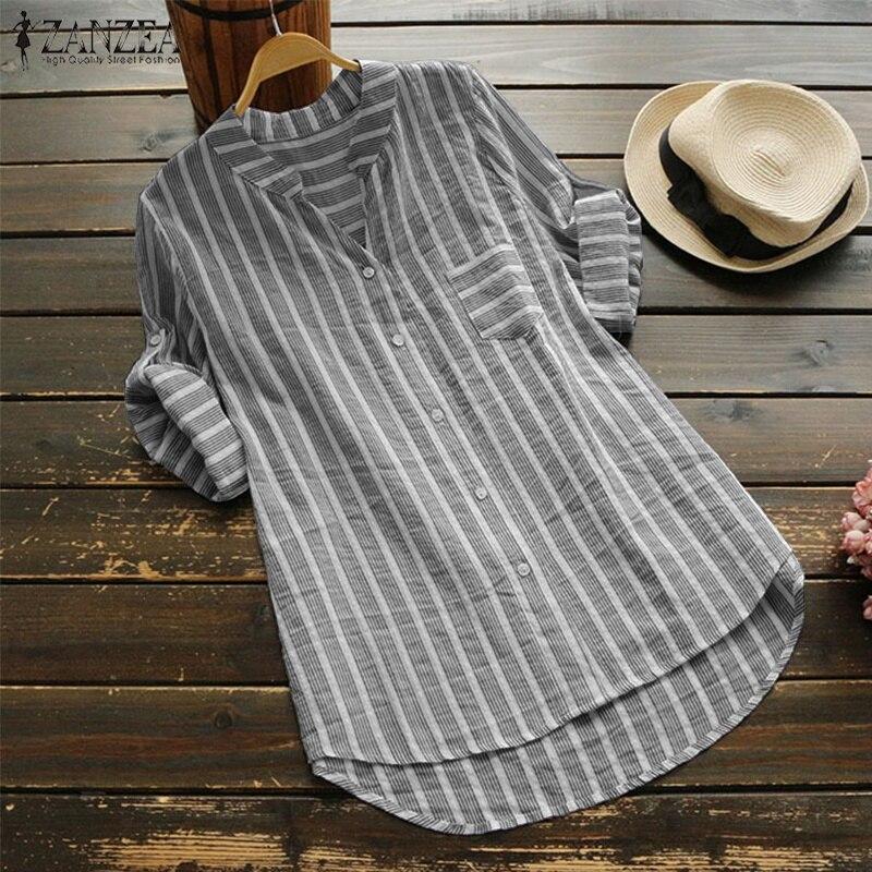 ZANZEA Plus Size Mulheres Blusa Verão 2019 partes Superiores Das Mulheres Listradas Camisas de Trabalho Casuais Senhoras Elegantes Blusas V Pescoço Blusa Feminina 5XL