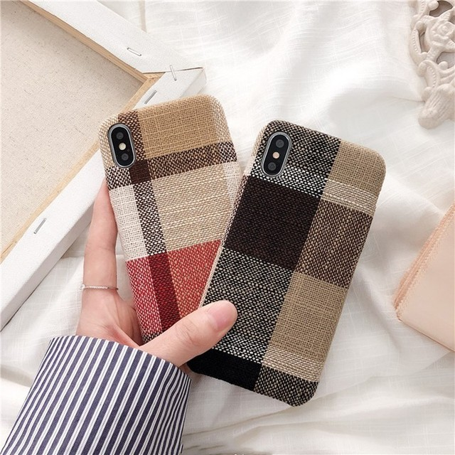 Cloth Texture Soft TPU case For iphone 7 Case Ultra thin Canvas Silicone Phone Cases For