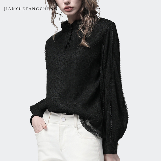 الصلبة الدانتيل قمصان النساء 2018 حجم كبير مكتب سيدة الشتاء بلوزات طويلة الأكمام الدافئة الوقوف طوق بلوزة سوداء رشاقته النساء الملابس