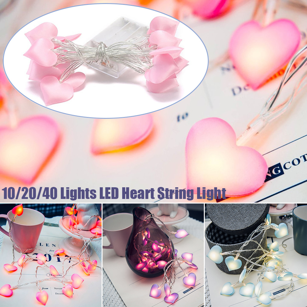 Fashion Heart Shape Satin String Light LED Fairy light Photography Props Party Ornaments Christmas D20