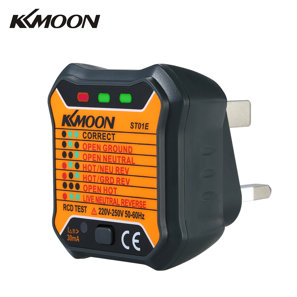 KKmoon RCD Electric Socket Tester Automatic Live Earth Wire Testing Circuit Wall Plug Breaker Finder Electric Leakage Test UK