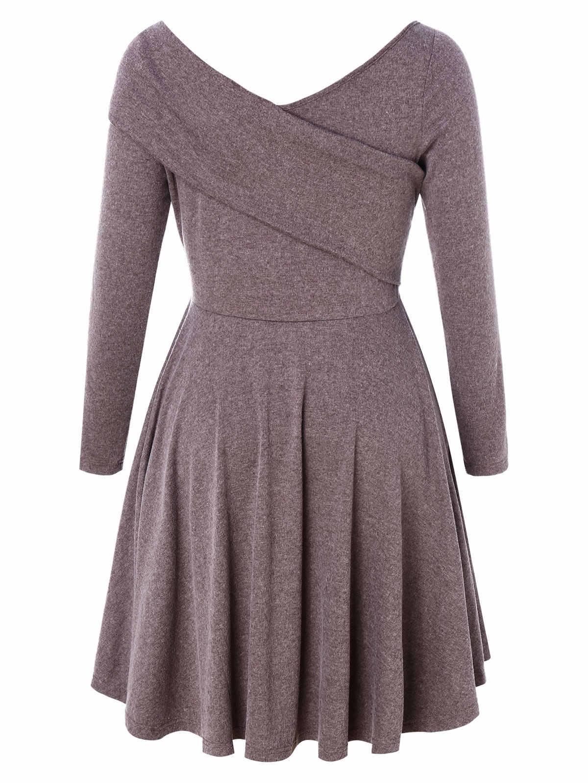 Wipalo женское платье больших размеров, украшенное, приталенное платье с v-образным вырезом и длинными рукавами, повседневное однотонное трикотажное платье, весенние женские платья