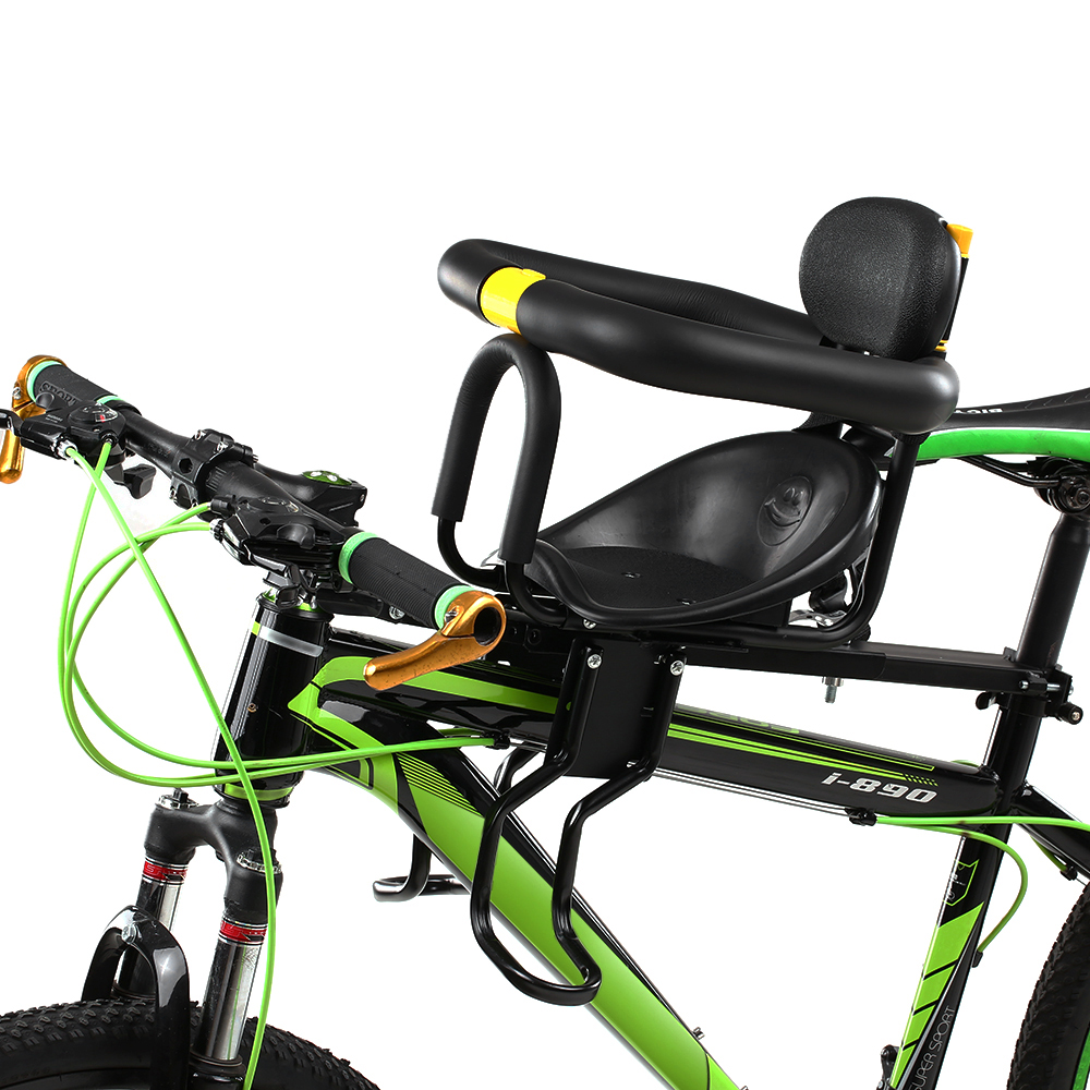 Safety Child Children Bicycle Seat Bike Front Baby Seat Kids Saddle with Foot Pedals Support Back