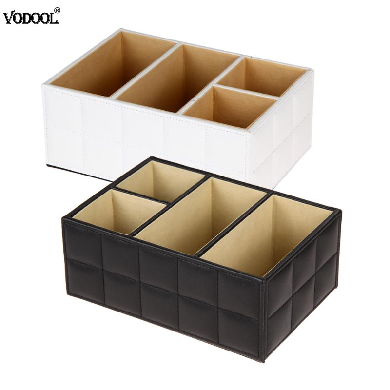 Luxury PU Leather Storage Desk Organizer Pen Storage Holder Makeup Cosmetic Container Box Stationery Storage Holder Tools