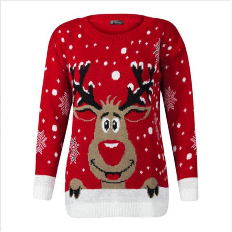 秋冬女性女の子クリスマスパーカーエルク鹿プリント長袖プルオーバーニットセータークリスマスギフト暖かい服