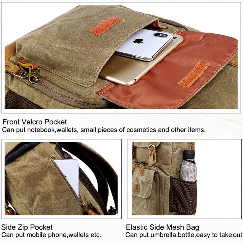 Bolso de la Cámara Batik lona impermeable bolsa de la fotografía al aire libre resistente al desgaste Gran Cámara de la Lente de la foto mochila para Canon/Sony/Nikon - 5