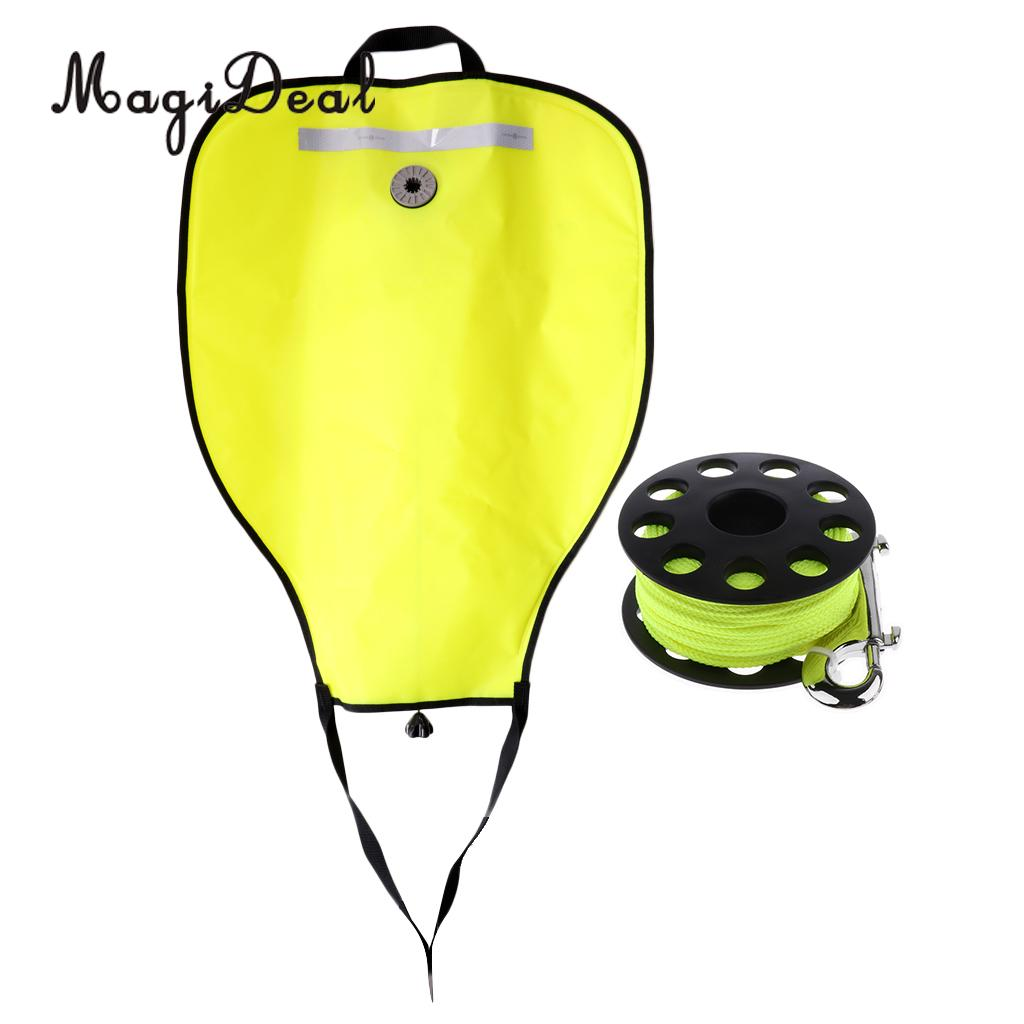 High Visibility Yellow Reflective Scuba Diving 50lbs SMB Safe Marker Buoy Salvage Lift Bag 30m Dive