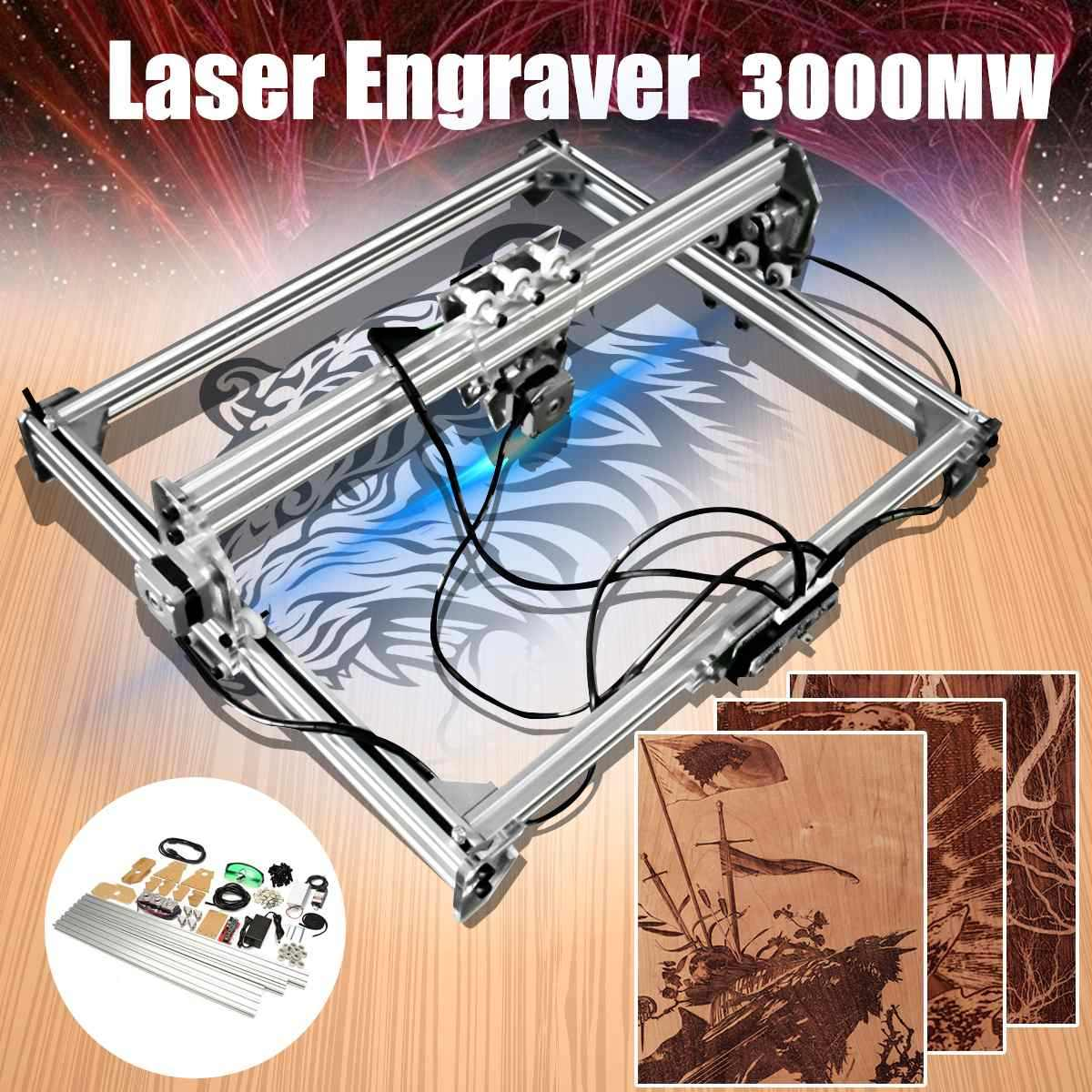 50*65cm Mini 3000MW Blue Laser Engraving Engraver Machine DC 12V DIY  Desktop Wood Cutter/Printer/Power Adjustable+ Laser