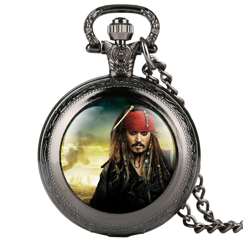 Fobs Fashion Men's Pocket Watch Pirates Of The Caribbea Movie Theme Pocket Watches Dangle Pendant Quartz Pocket Watch Retro
