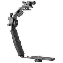 Caméra L support de montage vidéo Grip l support double Flash froid chaussure montage 1/4 pouce trépied vis, robuste rembourré poignée Dslr