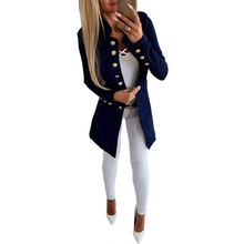 YJSFG HOUSE Fashion Womens Long Blazers Coats Button Casual Ladies Business Blazer Suit Jacket Outwear Single Breasted Hot Tops