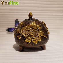 Vintage Chinese bronze brass incense burner high-grade home indoor small decoration jewelry